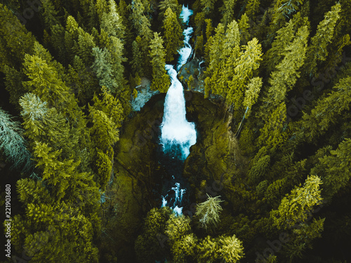 Photo Stands Forest river Sahalie Falls Aerial Shot