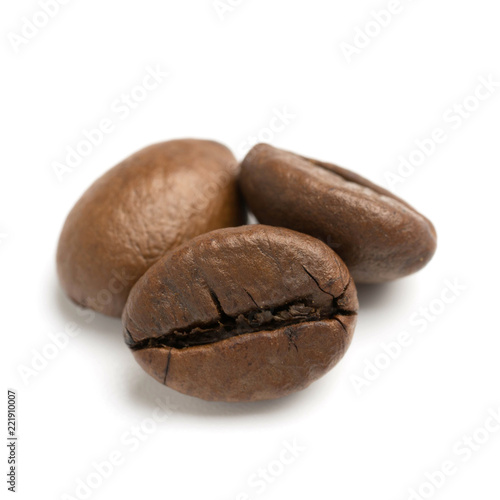 Fototapeta close up of two dark roasted fair trade coffee beans obraz