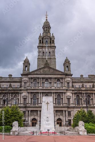 Fotografie, Obraz  Center of facade of Glasgow City Chambers building, Scotland UK.