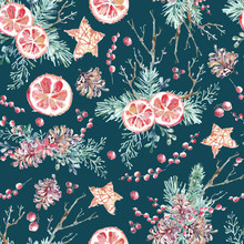 Watercolor Seamless Pattern With Citrus, Red Berries, Branches A