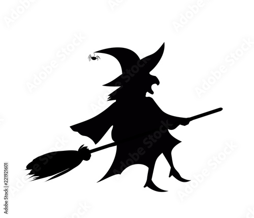 Obraz na plátně Black silhouette of witch fly on broomstick isolated on white background
