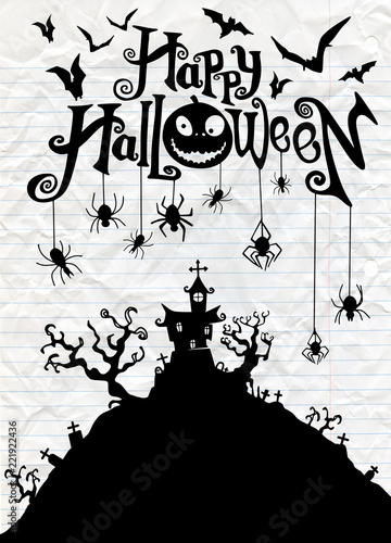 Halloween Night Background With Pumpkin Haunted House Flyer Or Invitation Template For Party