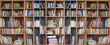 Wide Book Shelves With Blurry ...
