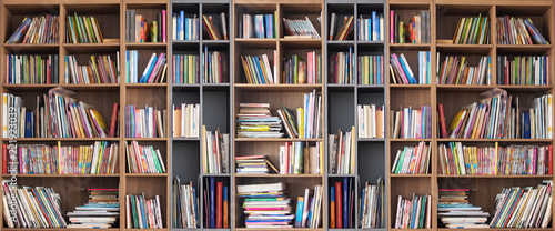 Fotografie, Obraz Wide book shelves with blurry effect on book cover