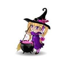 Little Blonde Baby Witch Girl In Purple Dress With Broom And Cauldron On Transparent Background Clip Art