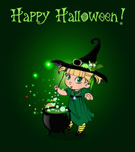 Happy Halloween Card With Little Witch Girl With Broom And Cauldron On Green Background