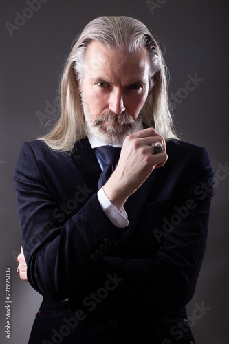 Portrait Of Old Man With Grey Long Hair And Beard Photo Stock Adobe Stock