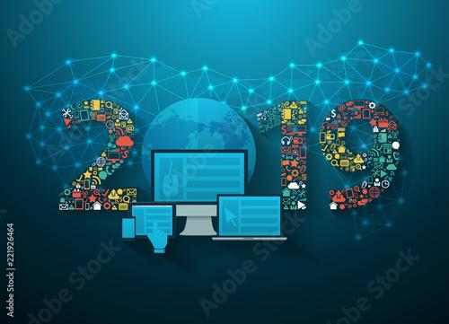 Fotografía  2019 new year business innovation technology set application icons digital marke
