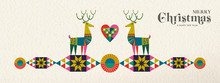 Christmas And New Year Retro Geometric Deer Banner