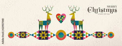 Fotomural Christmas and New Year retro geometric deer banner