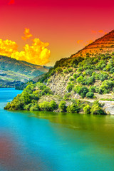 Panel Szklany 3D River Douro region at sunrise