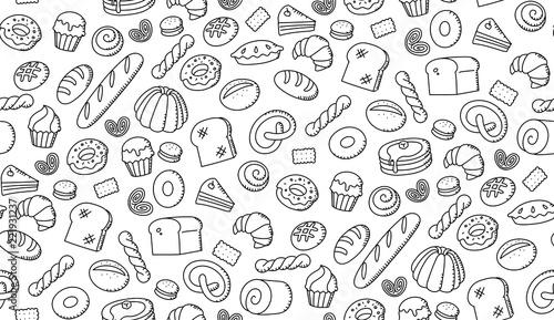 Seamless pattern background Bakery kids hand drawing set illustration isolated on white background