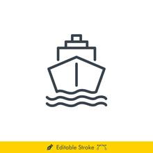 Ship Icon / Vector - In Line /...