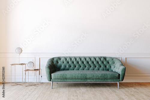 Fotografie, Obraz  3d render of beautiful interior with sofa and wooden floor