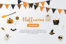 Happy Halloween Background With Flat Icon. Vector Illustration