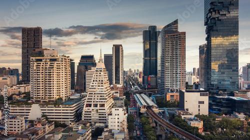 Deurstickers Stad gebouw Bangkok city and business financial center of Thailand