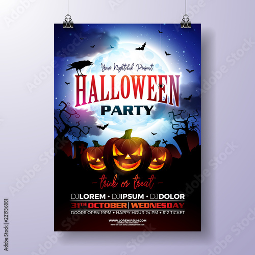 Halloween Party Flyer Vector Illustration With Scary Faced Pumpkin