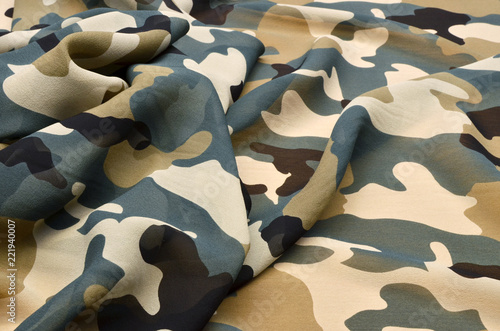 Fotografie, Obraz  Silk fabric chiffon with military ornament