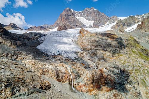 Fotografie, Obraz Alta Valmalenco (IT) - Vista aerea del ghiacciaio di Fellaria Occidentale - sett