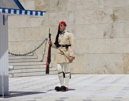 Poster Athens Athens, Greece, the Protection of the Greek Parliament in Athens Syntagma square. In modern Greece, the evzons are members of the Presidential guard