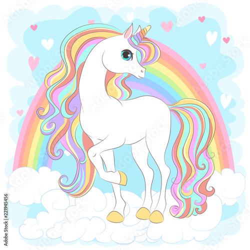 White Unicorn with rainbow hair
