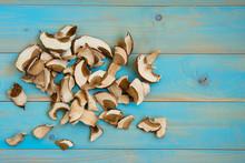 Dried Mushrooms, On A Blue Woo...