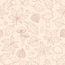 Vector Autumn Seamless Pattern With Oak, Poplar, Beech, Maple, Aspen And Horse Chestnut Leaves, Mushrooms, Acorns And Physalis Brown Outline On The Beige Dotted Background. Fall Ornament.