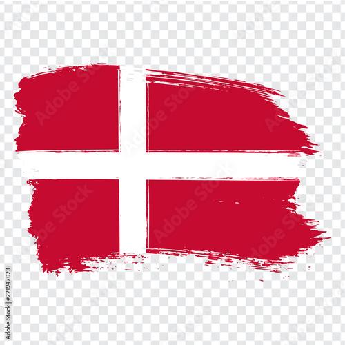 Photo  Flag Denmark, brush stroke background