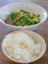 Selective Focus Of Tasty Thai Style Vegetable Stew Pork Soup With Steamed Rice ( Gaw Lao Kao Plaw ) - Delicious And Healthy Street Food In Thailand