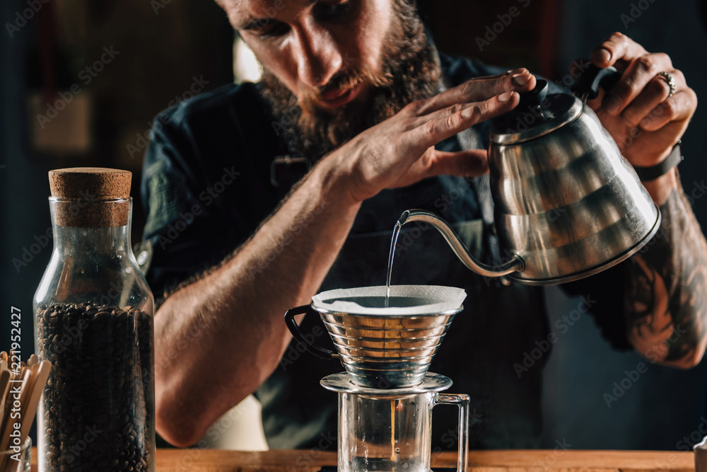 Fototapeta Barista Making Calita Drip Brew Coffee