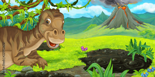 Foto auf AluDibond Drachen cartoon scene with happy dinosaur maiasauria near erupting volcano - illustration for children