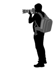 Photographer With His Telephoto Lens Silhouette  - Vector