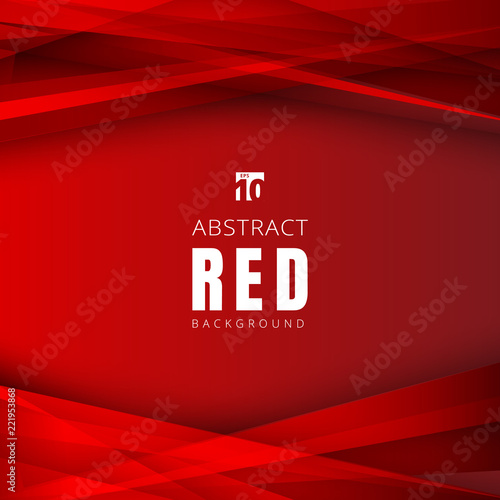 Fototapeta Template red shapes triangles overlapping with shadow on header and footers background. obraz