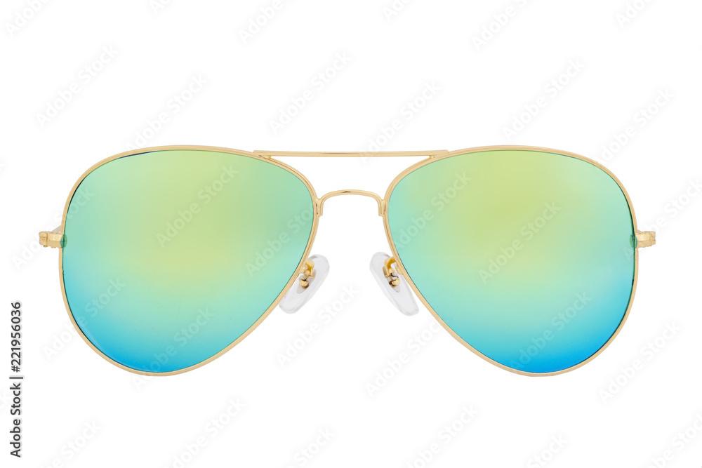 Fototapeta Gold sunglasses with Green Chameleon Mirror Lens isolated on white background