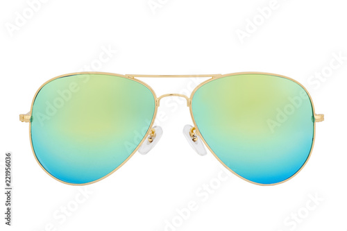 Canvastavla Gold sunglasses with Green Chameleon Mirror Lens isolated on white background