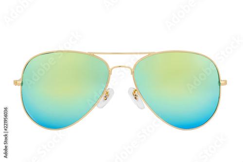 Fotografia, Obraz Gold sunglasses with Green Chameleon Mirror Lens isolated on white background