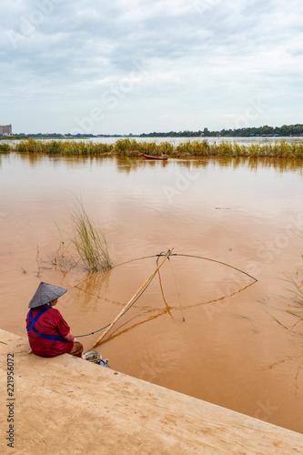 Fotografie, Obraz  Pesca sul Mekong - vientiane - Laos