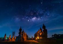 Buddha Statue And Milky Way At Night, Nakhon Si Thammarat Province, Thailand