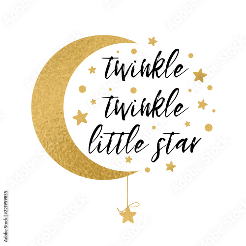 ec1954ad0 Twinkle twinkle little star text with gold star and moon for baby shower  card design template
