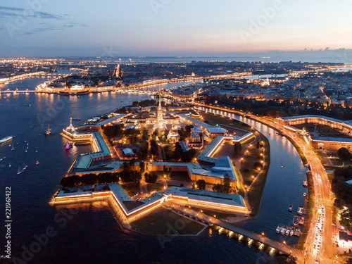 Staande foto Historisch geb. Aerial view of the night city of St. Petersburg, Peter and Paul Fortress.