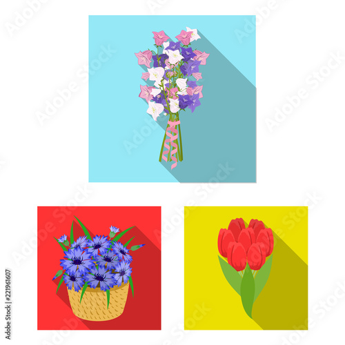 Poster Fleur A bouquet of fresh flowers flat icons in set collection for design. Various bouquets vector symbol stock web illustration.
