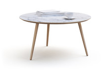 Modern White Round Coffee Table On Thin Legs And Marble Countertop. 3d Render
