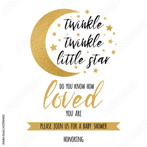 Twinkle Twinkle Little Star Text Loved With Gold Star And