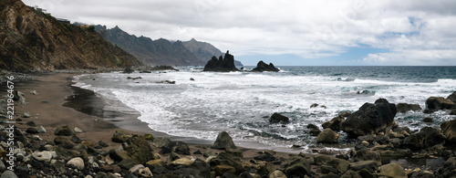 Tuinposter Kust Panoramic view of Benijo beach with big waves, black sand and rocks on the north coast of the island Tenerife, Spain