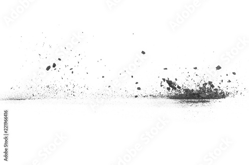 Photographie Charcoal dust texture isolated on white background