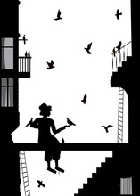 Birdman, Boy In The City With Many Pigeon, Black And White Memories,