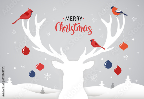 Fototapety, obrazy: Merry Christmas banner, Xmas template background with deer silhouette, Xmas decoration and birds