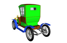 Grünes Antikes Cartoon Auto