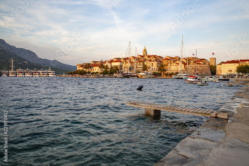 Fotografie, Obraz  Panoramic view of the Korcula town, Korcula island, Dalmatia, Croatia