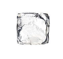Square Ice Cube Isolated On Wh...